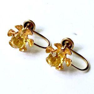 ANTIQUE 10k Gold Citrine Earrings Screw Back